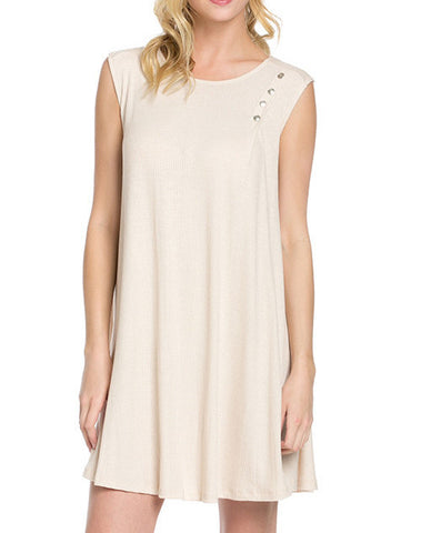 Cream Sleeveless Dress with Buttons