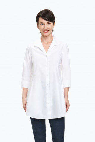 Foxcroft Cecilia Tunic in Non-Iron Pinpoint 3/4 Sleeve