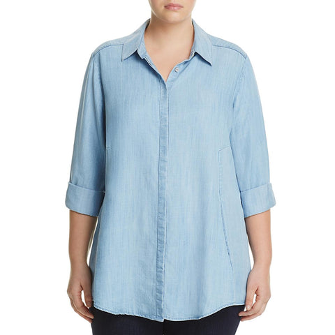 Foxcroft Denim Light Wash Long Sleeve