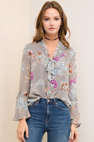 Grey Floral Top with Tie