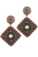 Copper and Ivory Dangle Earrings