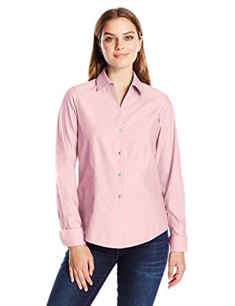 Foxcroft Chambray Pink Button Up 3/4 Sleeve