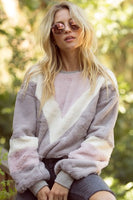 Pink And Grey Plush Pullover
