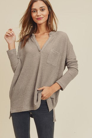 Taupe Waffle Knit V-Neck Long Sleeve Shirt