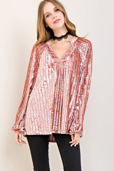 Dusty pink velvet top