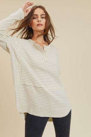 Blue and White Raw Hem Striped Henley