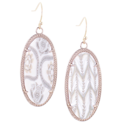 Jilzarah linen oval earrings