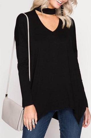 Long Sleeve Choker Top Black
