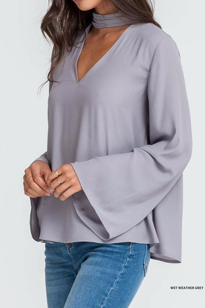 Grey Top With Cut Out V Neck