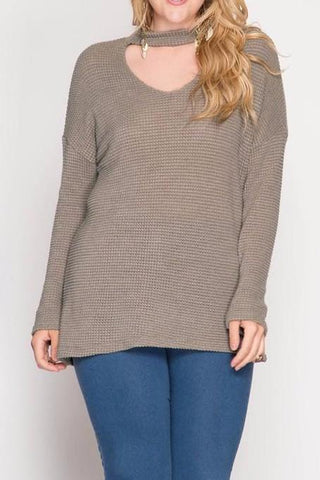Mocha Sweater with Choker Plus