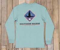 Southern marsh branding collection tee-flying duck-long sleeve (washed moss blue heather)