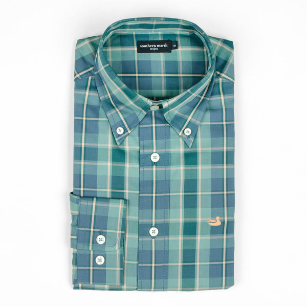 Southern marsh Hudson plaid button up (dark green & navy)