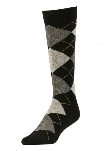 Men's Black Argyle Crew Socks