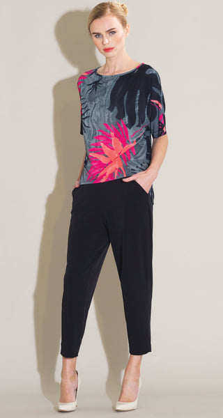 Palm Print 1/2 Sleeve Soft Knit Top Black Clara Sun Woo