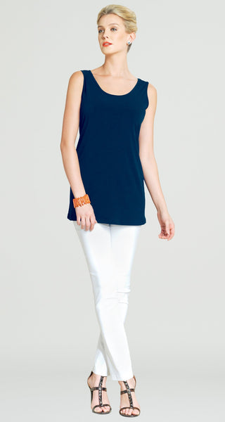 Clara Sun Woo Long soft stretch knit tank navy