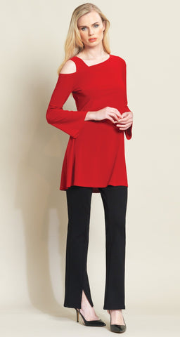 Clara Sun Woo solid drop shoulder bell sleeve tunic red