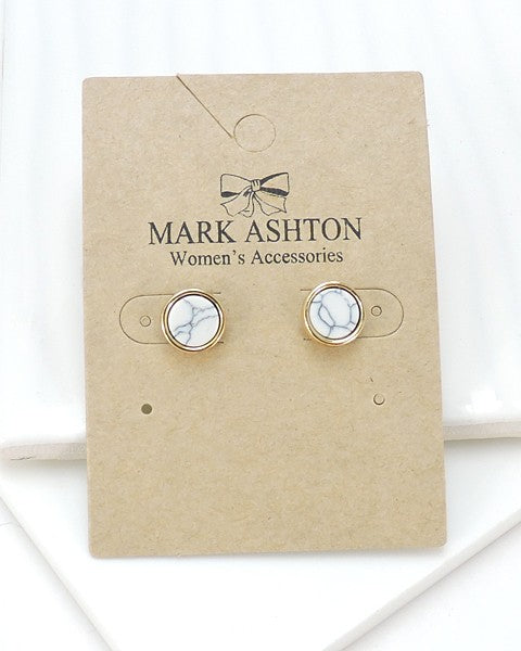 Circular White Marble Earrings