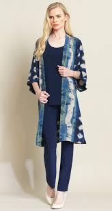 Clara Sun Woo diamond denim soft knit modern duster navy/taupe