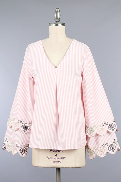 Embroidered Bell Sleeve Shirt