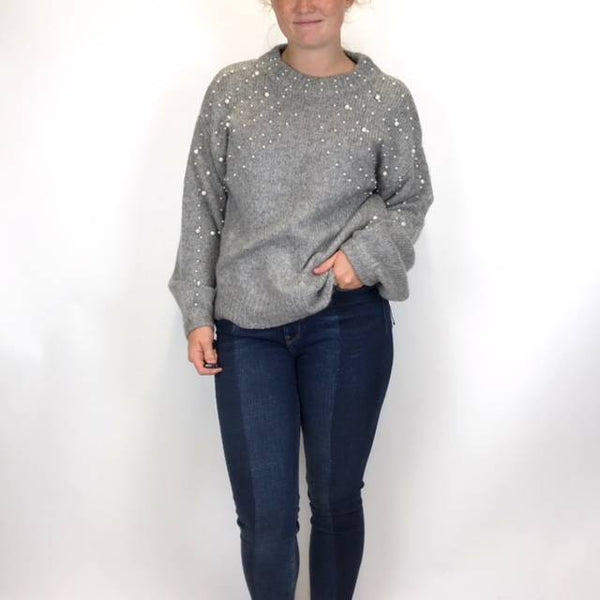 Esqualo Boxy Pearl Detail Sweater Grey