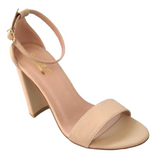 Nude Ankle Strap Chunky Heel