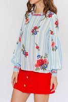 Stripe and Floral Print Blouse