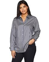 Foxcroft Estelle 3/4 Sleeve Stripe Black