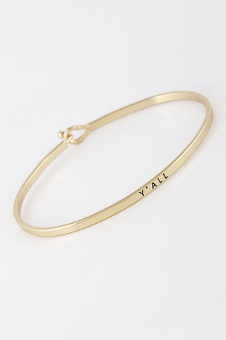 Quoted Brass Bangle Bracelet