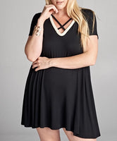 Queen's Black Dress with White Trim