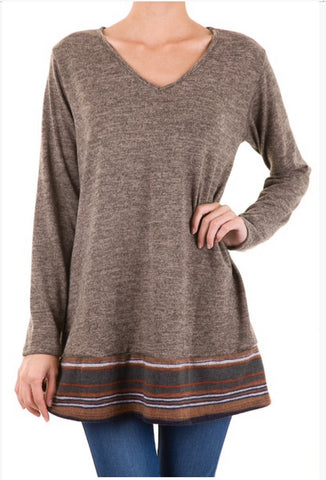 Mocha Tunic with Striped Bottom