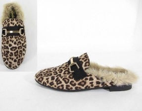 Faux fur leopard slip on shoes