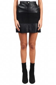 Esqualo Leather Skirt In Black