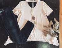 Baby Pink Double Cut Out Top
