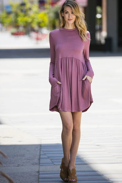 Mauve Pink Long Sleeve High Neck Dress