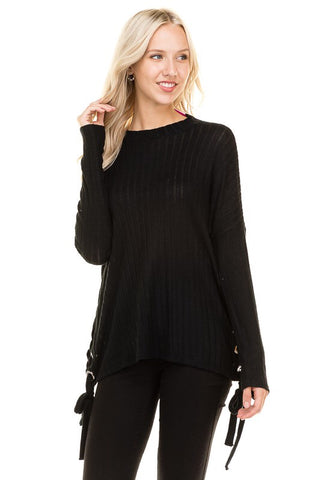 Ribbed Sweater with Double Front Lace Up