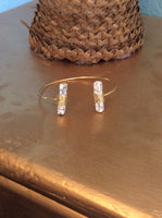 Double Stone Wire Wrapped Cuff Bracelet