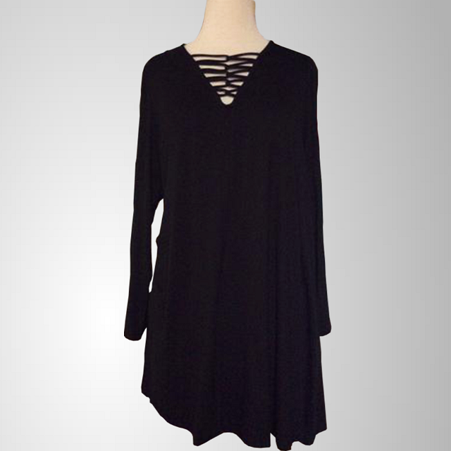 Queen's black dress with criss cross neckline