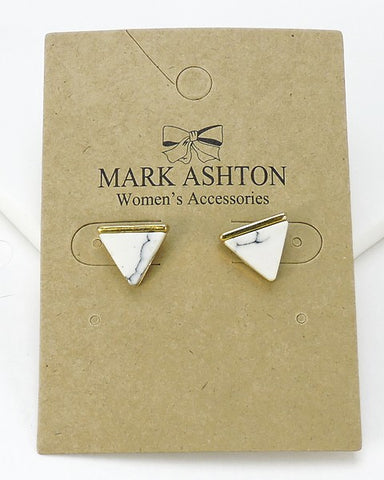 White Marble Triangle Earrings
