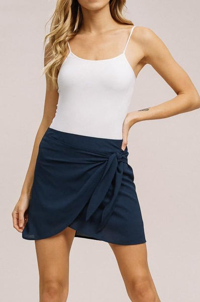 Navy Bubble Wrap Mini Skirt