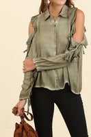 Olive Ruffle Long Sleeve with Cutouts