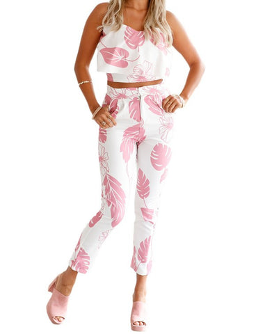 Pink White Leaf 2 Piece Suit