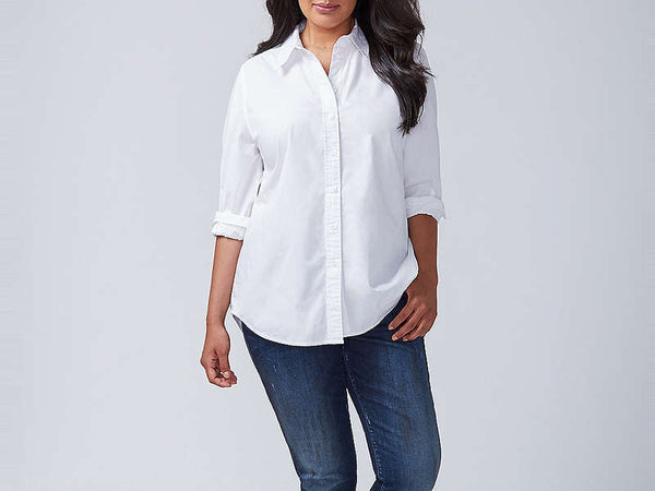 Foxcroft Long Sleeve Button Up White
