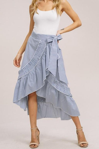Stripe ruffle wrap skirt