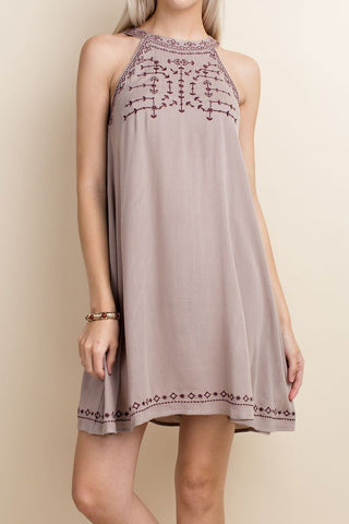 Halter Neck Embroidered Dress