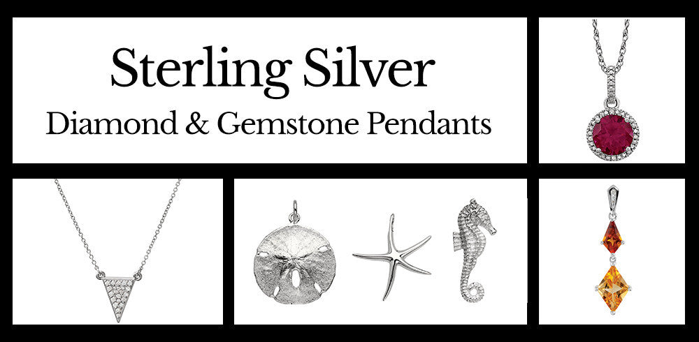 Diamond and Gemstone Sterling Silver Pendants