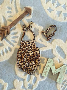 Leopard Print Kids Romper Headband Set