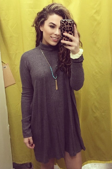 SUPER soft charcoal gray long sleeve warm cowl neck dress