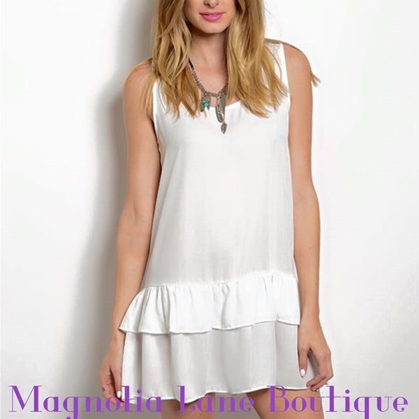 Layered white flowy tank top