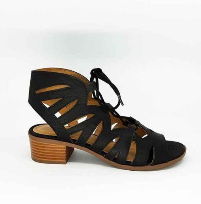 Dallas Lace Up Heel Sandals - Black