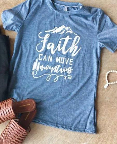Faith Can Move Mountains Graphic Tee - Blue